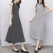Women Dress O-neck Striped Sleeveless Jumper Skirt Plus Size Dresses Mid-calf Summer Party Dress vestidos dress women платье(China)