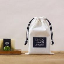 Белая хлопковая сумка на шнурке с черной веревкой для ювелирных