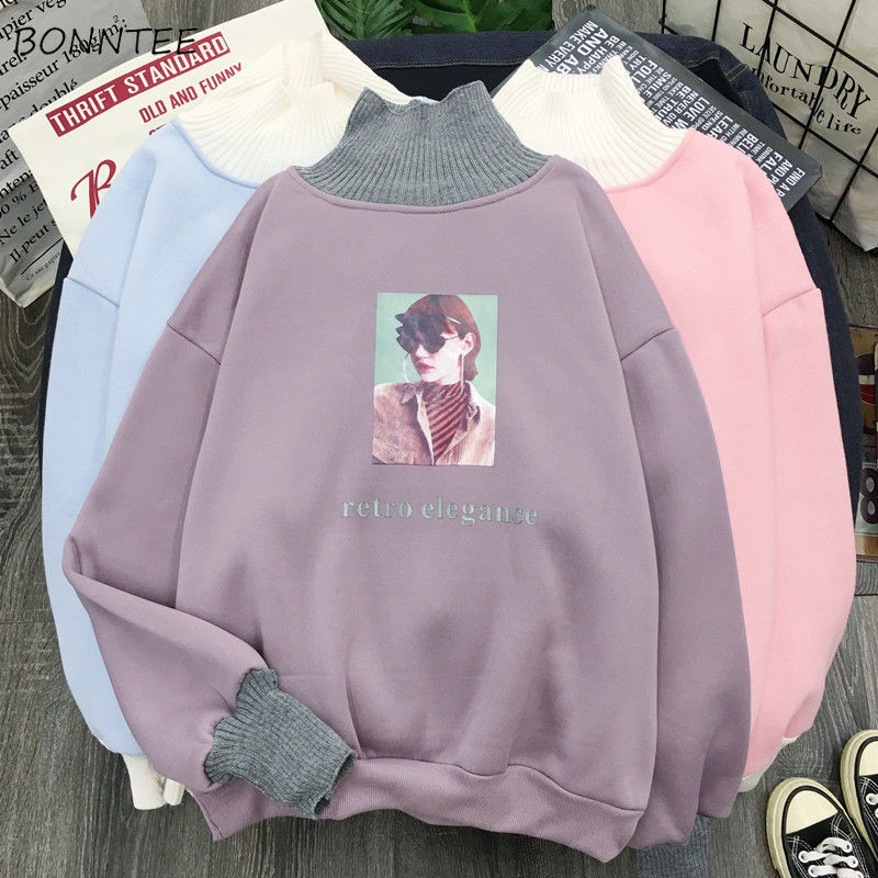 Hoodies Women Turtleneck Patchwork Print Leisure Daily Pullover Womens Students Korean Style Stylish Streetwear Ulzzang Delicate