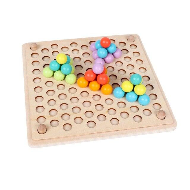 JaheerToy Del Bambino A Mano Movimento di Formazione di Colore Cognizione Perline Ritaglio di Legno Giocattoli per Bambini Palla Montessori Educazione Precoce 5
