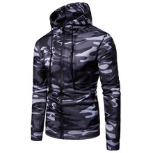 Spring Autumn New Mens Hoodies Fashion Casual Slim Fit Sweatshirt Camouflage Hoodie Men Zipper Cardigan
