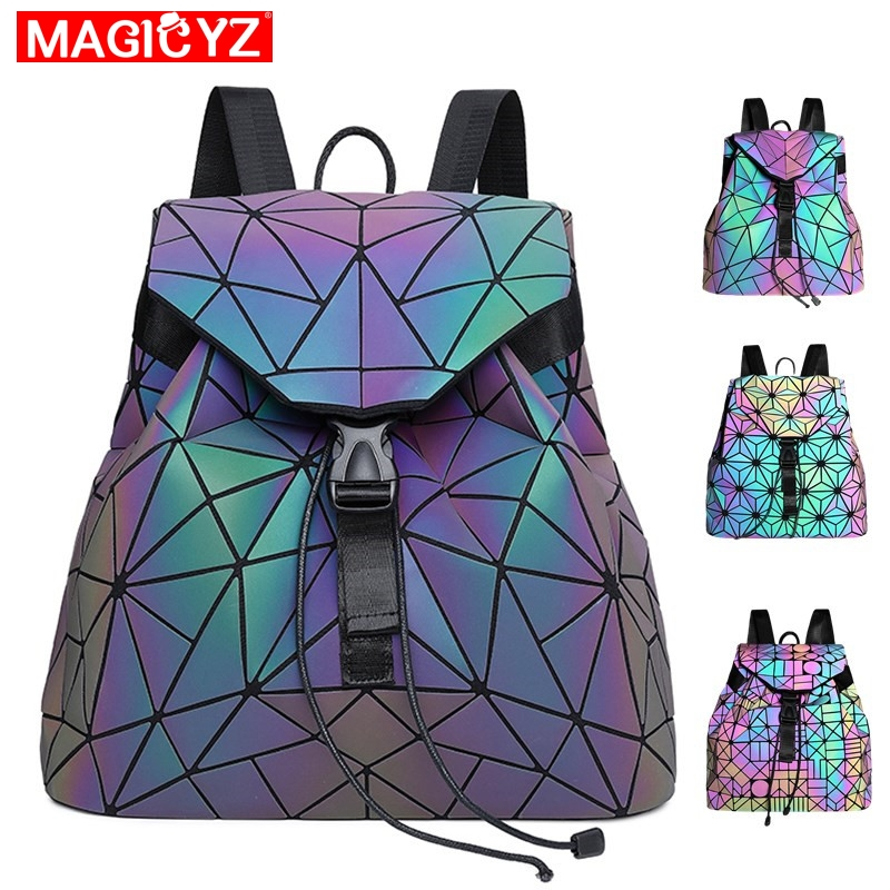 MAGICYZ Women Laser Luminous Backpack Geometric Shoulder Bag Folding Student School Bags For Teenage Girl Holographic Sac A Dos