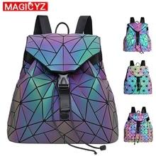 Women Laser Luminous Backpack female Shoulder Bag Folding Student School Bags For Teenage Girl holographic sac a dos mochila