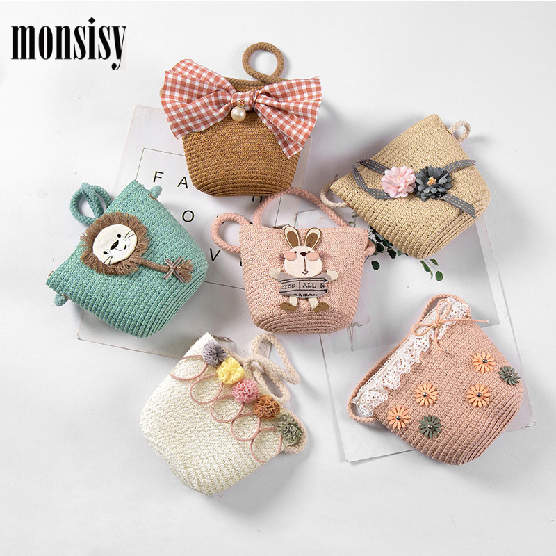 Monsisy Kid Straw Bag For Girls Boys Rattan Handbag Children Wallet Shoulder Bag Summer Toddler Coin Purse Baby Straw Beach Bag