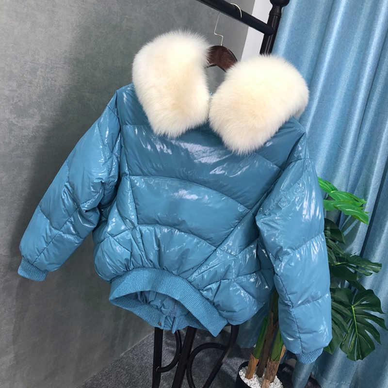FTLZZ Nieuwe Winter Grote Echte Vos Bontkraag Witte Eendendons Parka Losse Heldere Side Breadwear Vrouwelijke Dikke Warme Bomber bovenkleding