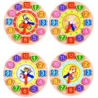 Juguete de madera con 12 números coloridos, reloj Digital de geometría, reloj de geometría cognitiva, juguete educativo para edades tempranas, rompecabezas