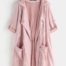 YOINS 2019 Autumn Winter Women Trench Coats Mid-Long Button Suede Lapel Collar L