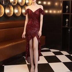 Элегантное женское сексуальное вечернее платье с блестками, платье с открытыми плечами, вечернее платье русалки, Кружевное Платье De Soiree longue...