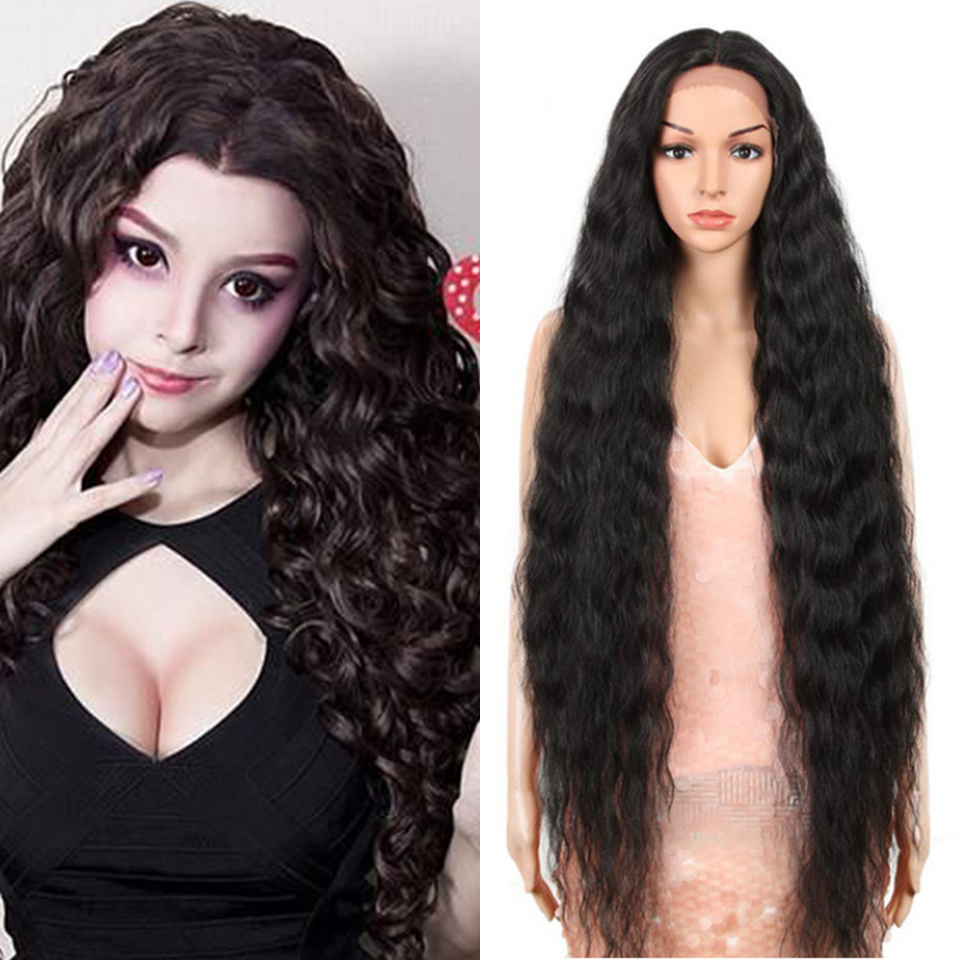 FREEWOMAN Black Synthetic Lace Front Wigs  Hair Long Wigs For Black Women Fake Curly Hair 42 Inch Cosplay Blonde Natural  Color