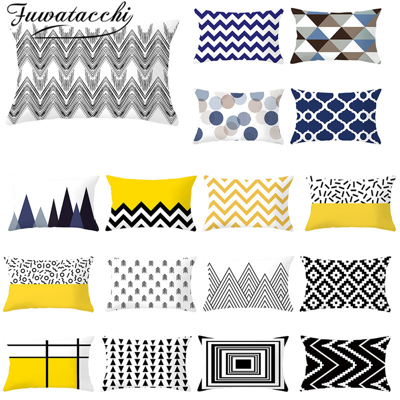 Fuwatacchi Geometric Pattern Cushion Cover Rectangle Polyester Throw Pillowcase For Sofa Decorative Throw Pillows Covers 30*50cm