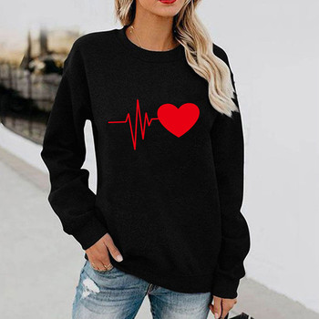 Harajuku kobieta t-shirty Damskie zimowe nadruk serce z długim rękawem swetry T-shirt Femme t-shirty Blusas Para Mujer t-shirty Damskie tanie i dobre opinie CN (pochodzenie) Na wiosnę jesień COTTON NONE Pełne REGULAR Sukno Na co dzień Dla osób w wieku 18-35 lat Z okrągłym kołnierzykiem