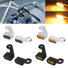 Motorcycle Mini LED Turn Signals Indicators Running Blinker Amber Light With E Mark Handle Grip Lamp For Harley Softail Touring