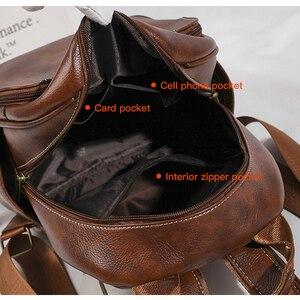 Image 5 - High Quality Women Backpack Vintage Backpacks For Teenage Girls Fashion Large School Bags Leather Black Mochila Feminina XA582H