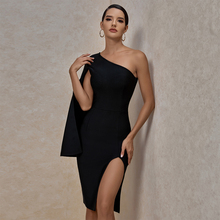 Ocstrade Summer Sexy Thigh Slit One Shoulder Bandage Dress 2020 New Arrival Women Black Bandage Dress Bodycon Club Party Dress
