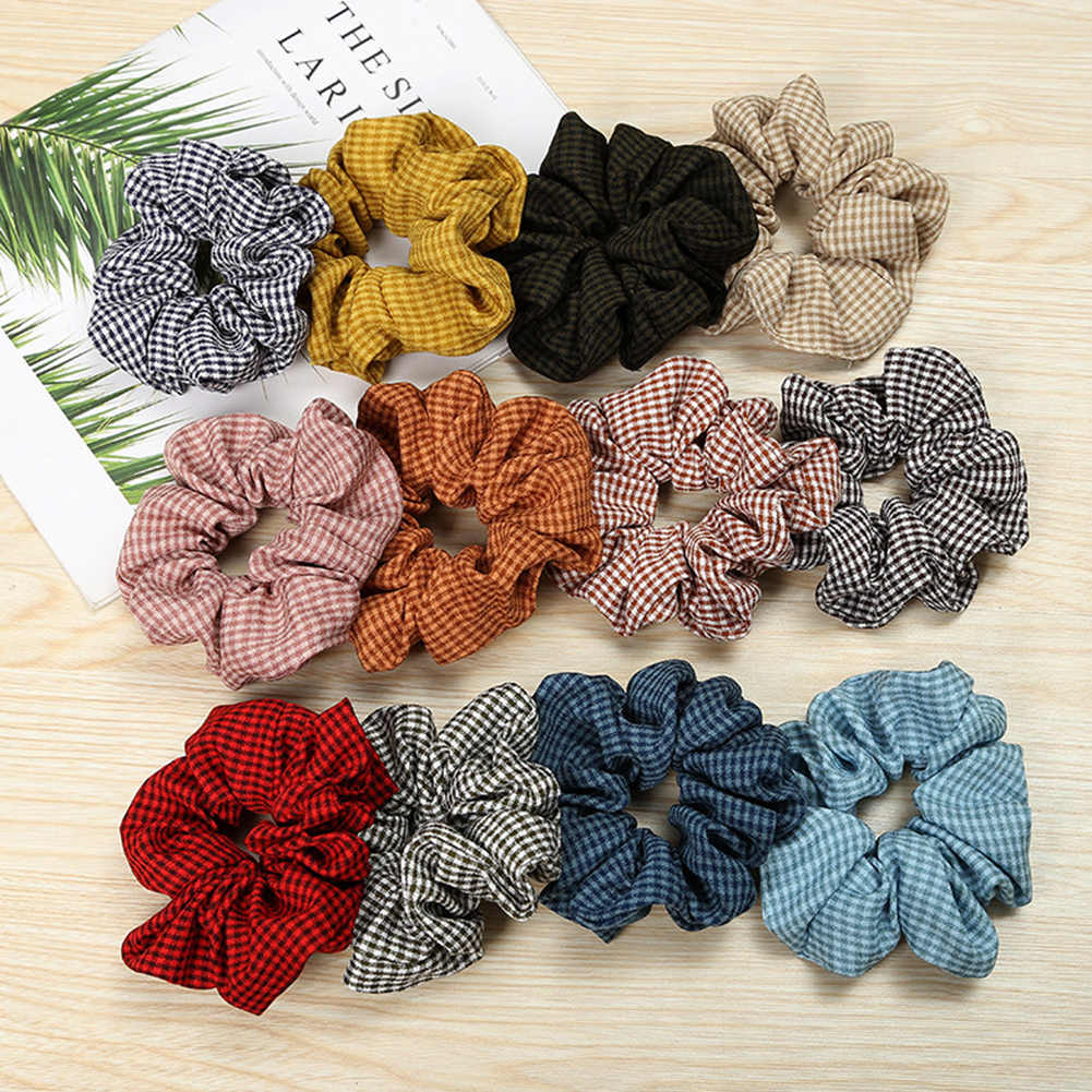 New Arrival Fashion Scrunchies Women Check Plaid  Hair Bands Hair Rope Hair Scrunchies Girl Hair Tie Accessories Ponytail Holder