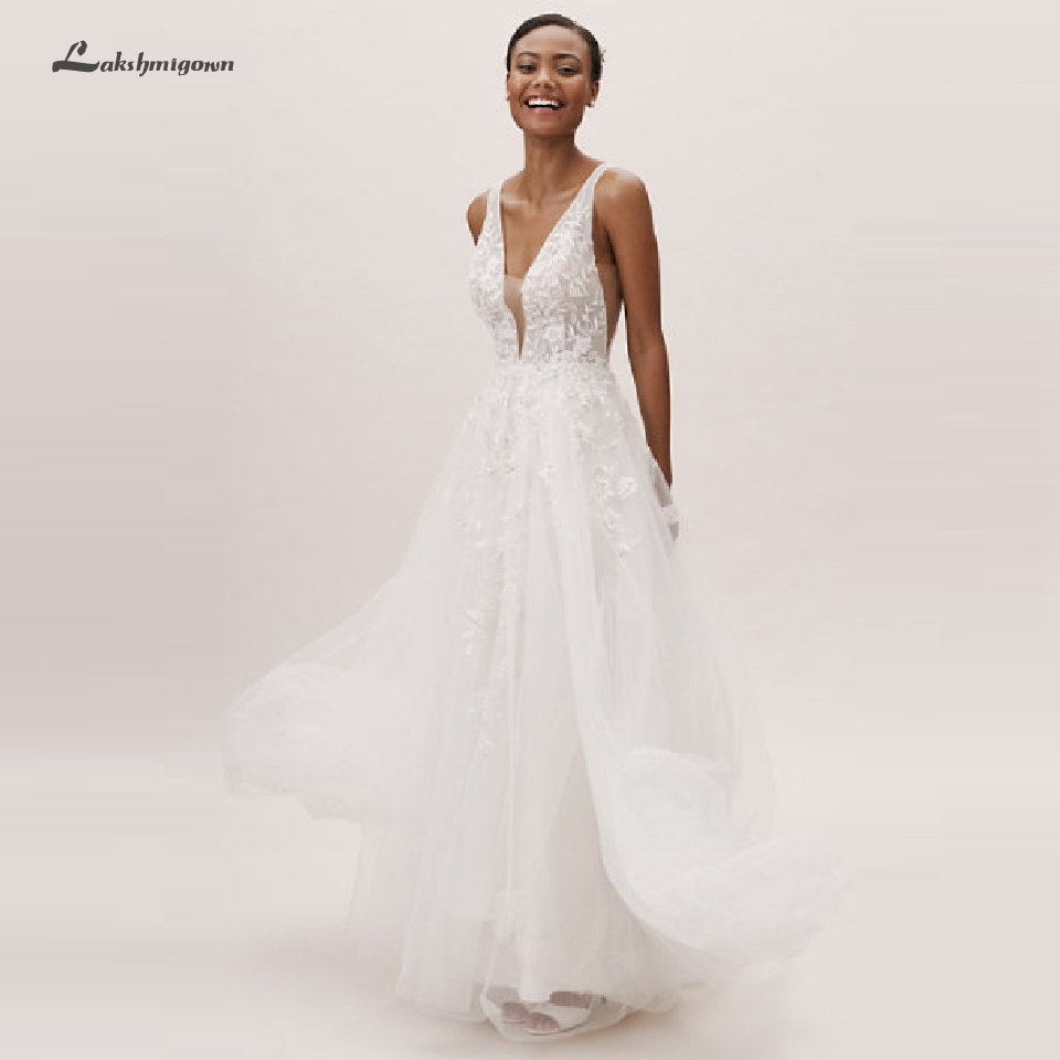 Lakshmigown Sexy Beach Wedding Dress Boho Robe Mariage Femme 2020 Pretty Bridal Dress V Neckline Open Back Lace Wedding Gowns image