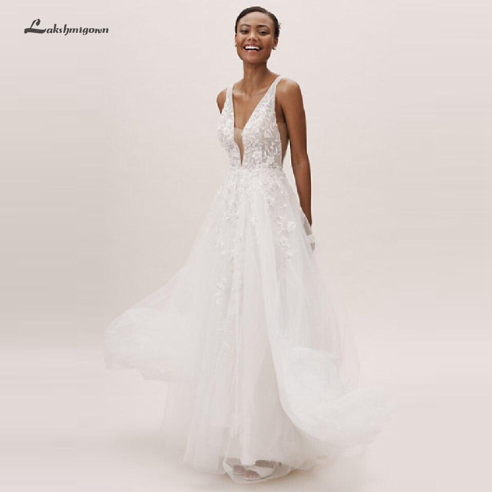 Lakshmigown Sexy plage Robe de mariée Boho Robe Mariage Femme 2020 jolie Robe de mariée décolleté en V dos ouvert robes de mariée en dentelle