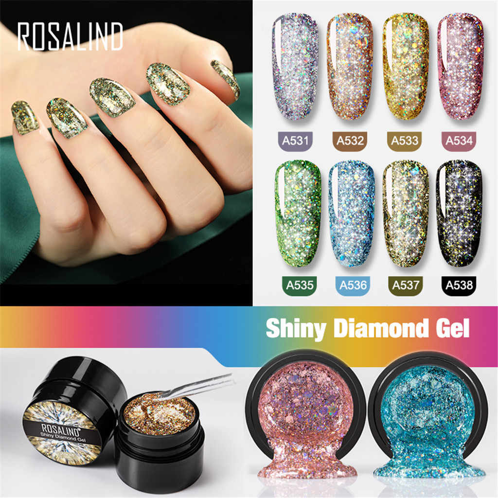 ROSALIND 5ml diamante holográfico Gel esmalte de uñas neón brillo brillante remojo-Off UV LED Gel largo- duradera barniz laca