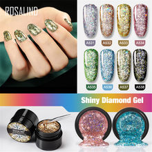 Rosalind 5 Ml Diamond Hologram Gel Nail Polish Neon Shimmer Bersinar Glitter Rendam Off UV LED Gel Panjang tahan Lama Pernis Lacquer(China)