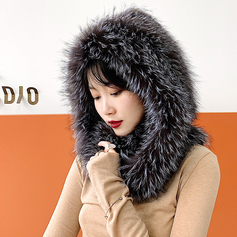 Natural real fox fur snow hat hand knitted scarf hat integrated scarf hat to keep warm Versatile Ear protection