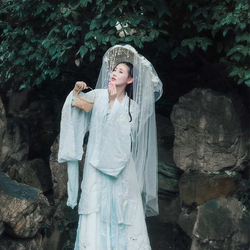 Elegant Blue Chinese Style Hanfu Exquisite Embroidery Princess Clothing Cosplay Costume Classic Dance Stage Performance Suit