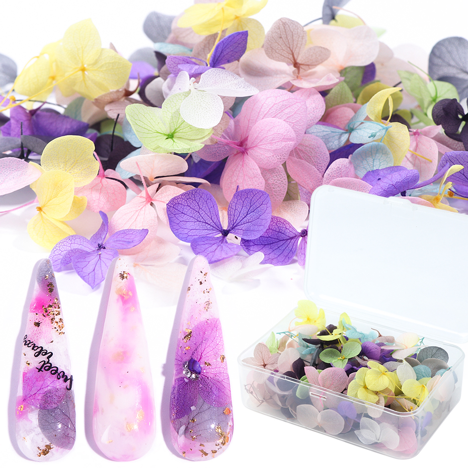 100pcs Fasting Dried Flowers 3D Nail Art Decorations Natural Floral Sticker Charms Nail Designs UV Gel Polish Accessories BE1505