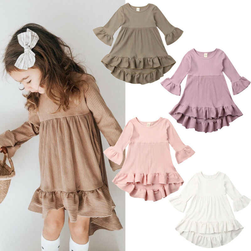 Princess Kid Baby Girl Dress Autumn Knit Solid Long Flared Sleeve  Ruffle Tutu Dress Wedding Party Clothes