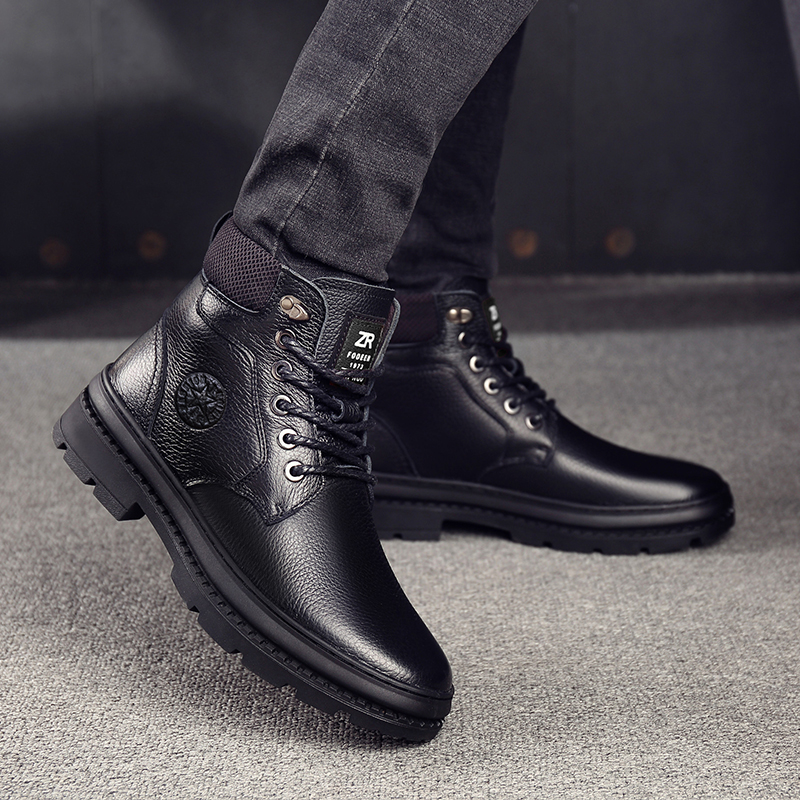 OSCO Genuine Leather Men Waterproof Boots Men Casual Shoes Fashion Ankle Boots For Men High Top Winter Men Boots