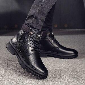 Image 1 - أوسكو جلد أصلي للرجال أحذية برقبة طويلة مقاومة للماء الرجال حذاء كاجوال موضة حذاء من الجلد للرجال عالية أعلى الشتاء الرجال الأحذية