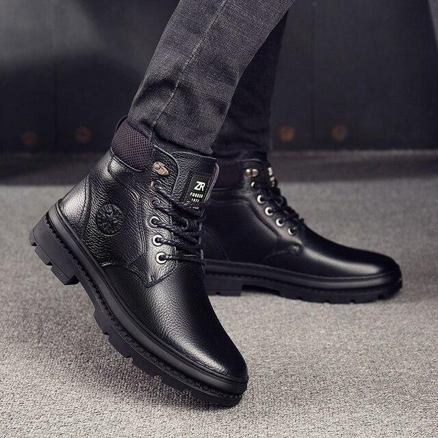 أوسكو جلد أصلي للرجال أحذية برقبة طويلة مقاومة للماء الرجال حذاء كاجوال موضة حذاء من الجلد للرجال عالية أعلى الشتاء الرجال الأحذية