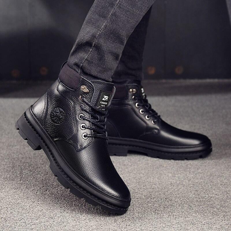 OSCO en cuir véritable hommes bottes imperméables hommes chaussures décontractées mode bottines pour hommes haut haut hiver hommes bottes