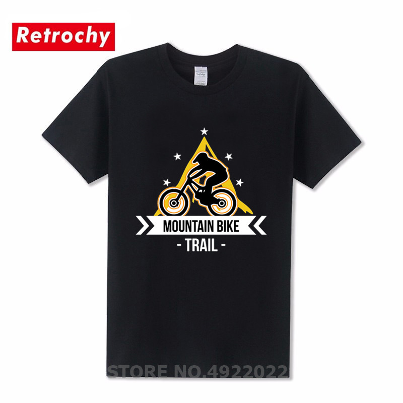Mountain <font><b>Bike</b></font> T <font><b>Shirt</b></font> Men Punk Style MTB BMX Funny Biker <font><b>Strava</b></font> T-<font><b>shirts</b></font> Special TRAIL 100% Cotton Aerobic Cycling Sports Tshirt image