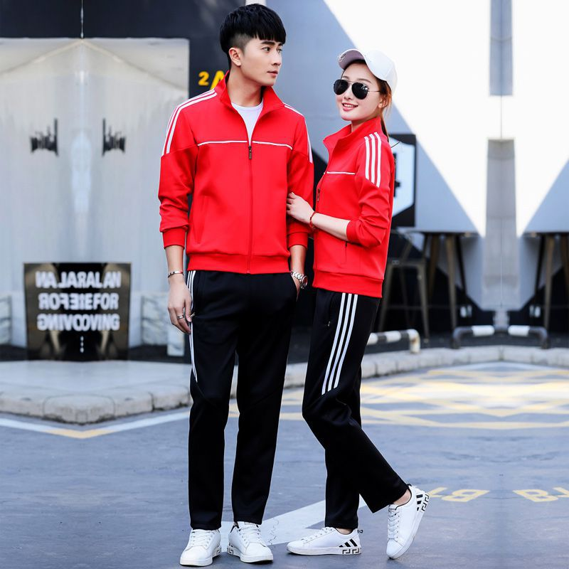 Spring And Autumn New Style Men And Women Couples Casual Sports Running Two-Piece Set Group Clothes Customizable Business Attire