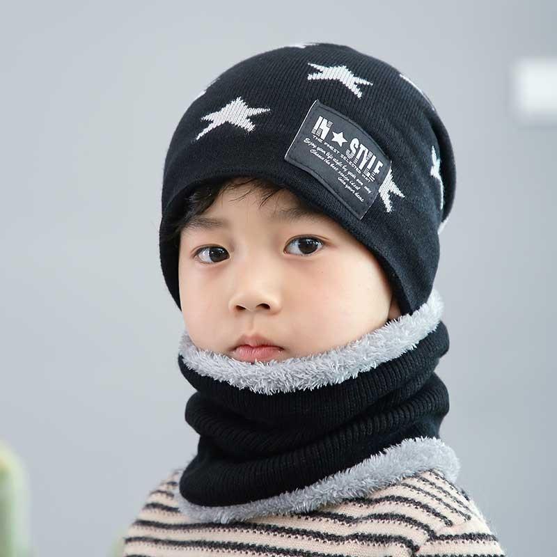 Child Winter Knit Hat Scarf Set Boy Girls Warm Plush Beanies Hat 2 Piece Sets Kid Geometry Print Fashion Outdoor Ski Cap Scarves