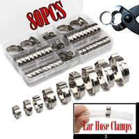 45/80pcs 5.8-23.5mm Stainless Steel 1-Ear Stepless Fuel Clamp Worm Drive Fuel Water Hose Pipe Clamps Clips Hose Clamp