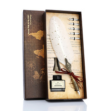 1set Retro Vintage Calligraphy Feather Dip Pen Writing Ink Set Stationery Quill Fountain Pens Creative Vintage Pen