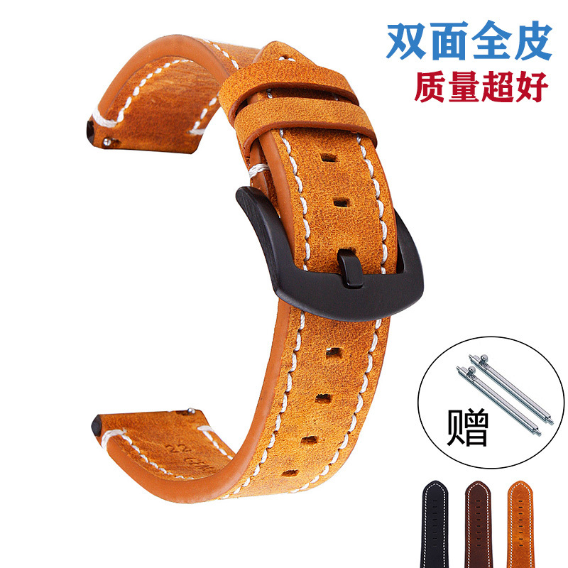 Watch Accessories Hot Selling Leather Watch Strap Crazy Horse Vintage Full Leather Watch Strap Switch Watch Band Moto Gears3