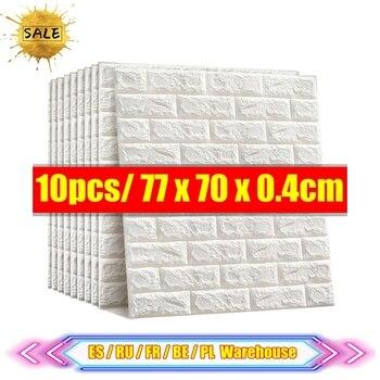 10pcs 3D Wall Sticker Imitation Brick Bedroom Decoration Waterproof Self-adhesive Wallpaper For Living Room Kitchen TV Backdrop