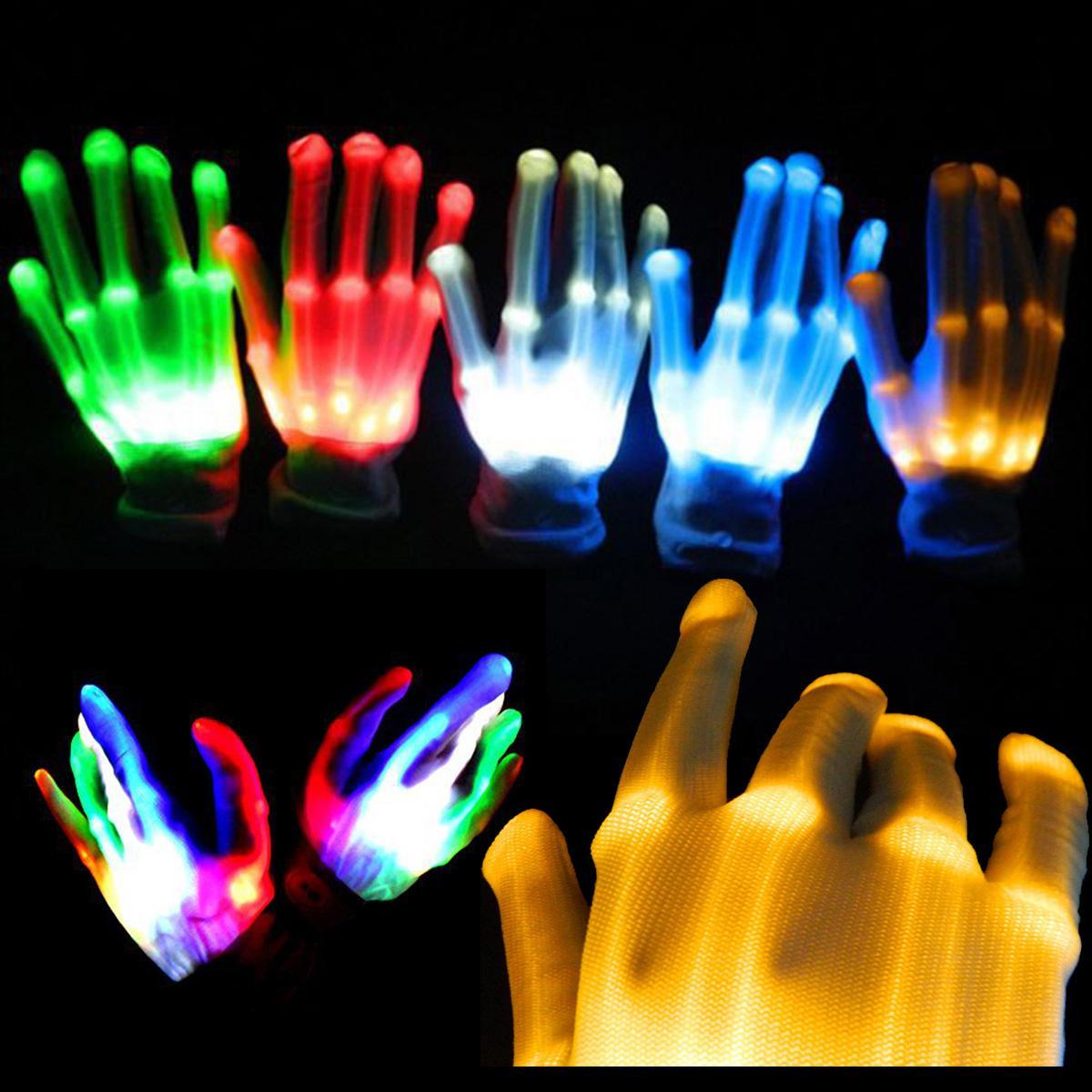 Adult Kids Flashing Gloves Glow Light Up Finger Lighting LED Gloves Dance Toy UK