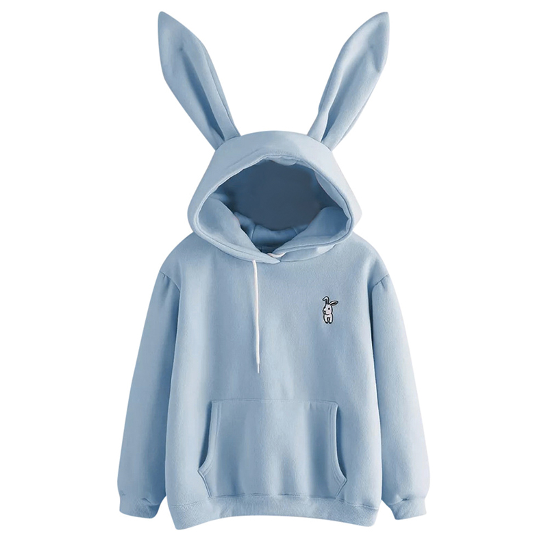QRWR 2020 Autumn Winter Women Hoodies Kawaii Rabbit Ears Fashion Hoody Casual Solid Color Warm Sweatshirt Hoodies For Women 3