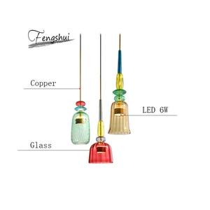 Image 4 - 北欧マカロンledガラスペンダント灯照明寝室リビングルームインテリアロフト現代のペンダントランプレストラン屋内装飾