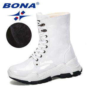 Image 3 - BONA 2019 nowi projektanci ciepła platforma kobieta śnieg buty pluszowe kobiece trampki Outdoor Snowboots ciepłe buty buty damskie