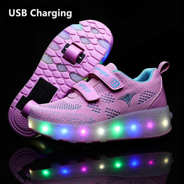 Eur28-43 Two Sneakers With Wheels USB Charging Glowing Led Light Up Heelies Roller Skate Wheels Shoes For Boys&girls Slippers