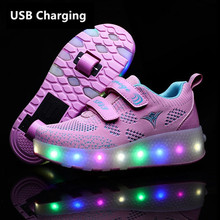 Eur28-43 Two Sneakers With Wheels USB Charging Glowing Led Light up Heelies Roller Skate Wheels