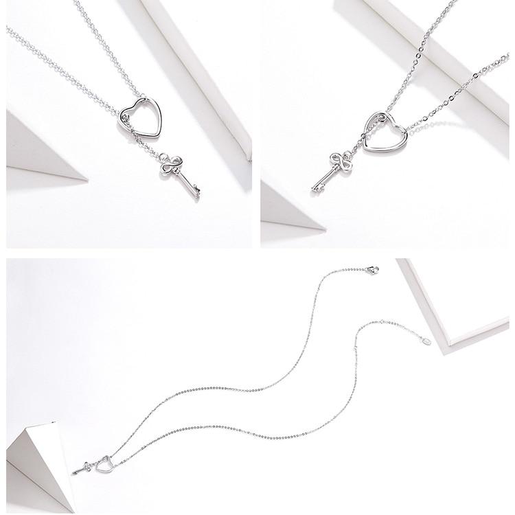 H292be429b783480ab285a1808f4f5097H BAMOER 925 Sterling Silver Sweet Key of Heart Lock Link Chain Necklaces & Pendants Women Luxury Sterling Silver Jewelry SCN107