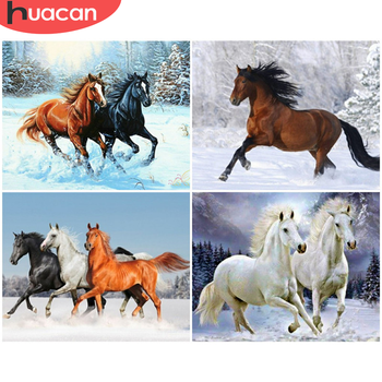 HUACAN Painting By Numbers Horse Animal Drawing On Canvas Pictures By Number DIY Winter Kits Home Decor