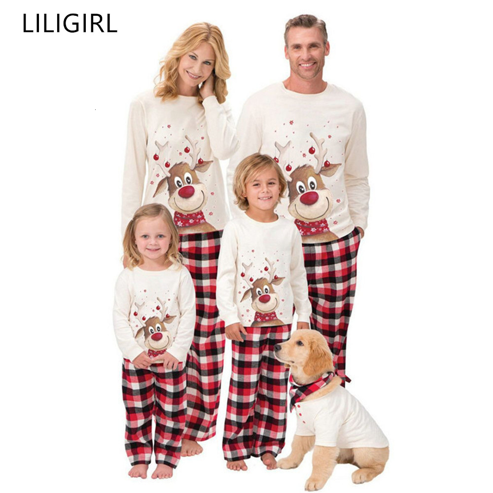 Family Matching Outfits Clothing Christmas Pajamas Set Xmas Adult Kids Cute Party Nightwear Pyjamas Cartoon Deer Sleepwear Suit