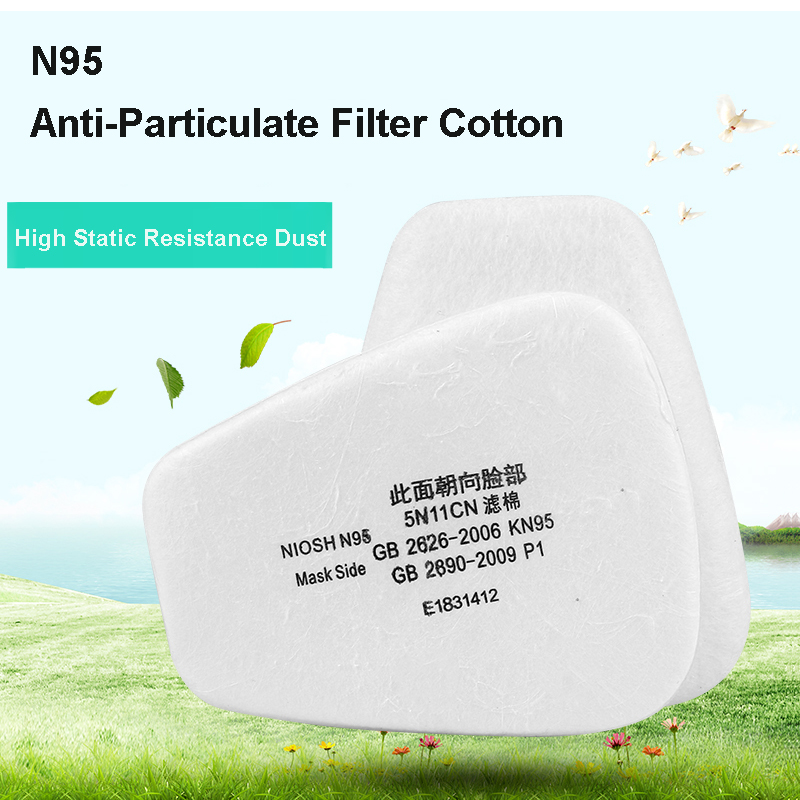 5N11  Respiratory Gas Mask 6pcs  Particulate Filter Cotton  Use For 6000 6500 7200 For Dust Mask
