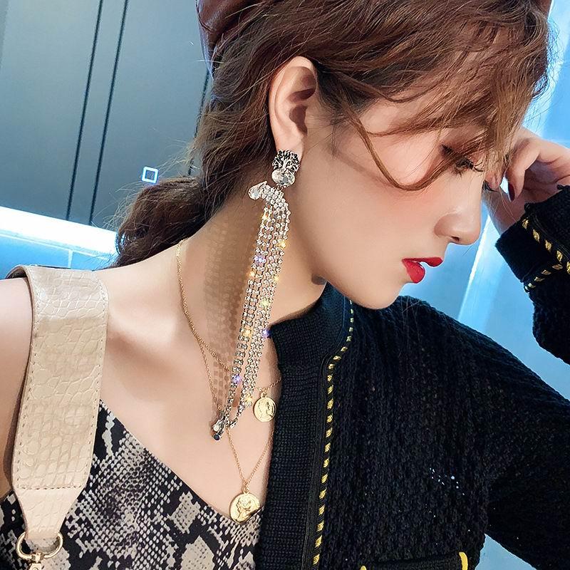 Statement Rhinestone Tassel Earrings For Women 2020 New Fashion Luxury Big Long Earrings Jewelry Wedding Party Bijoux Gifts