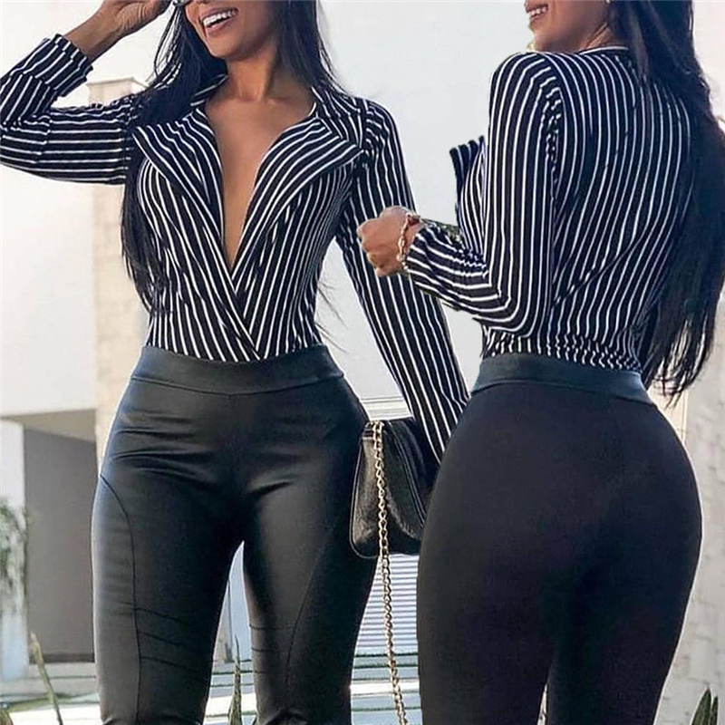 Hot Sale Fashion Elegant Loose Tops Office Lady Blouses Black White Striped Casual Blouse Women Deep V Neck Long Sleeve Shirt